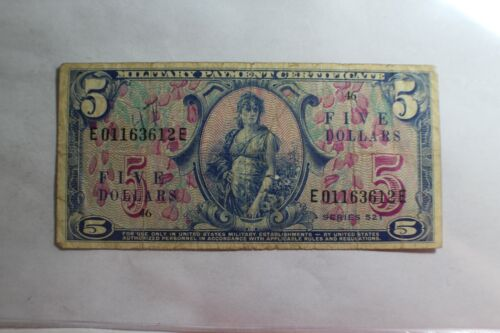 MPC US Military Payment Certificates Series 521 5 Dollars #E 00525 Note
