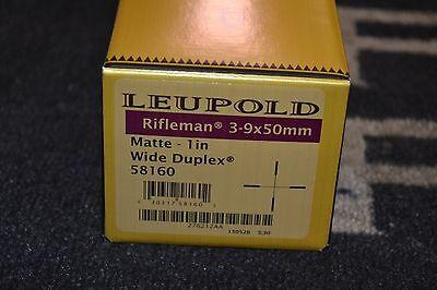 "Leupold Rifleman 3-9x50mm Matte BLK 1"" Wide Duplex 58160 NIB Free Shipping"