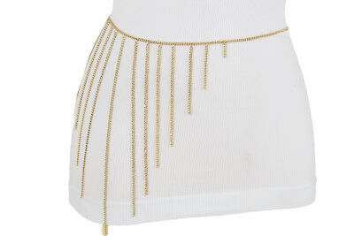 Women Gold Skirt Belt Waist Hip Metal Chains Long Side Fringes Plus Size M L XL for sale  Los Angeles