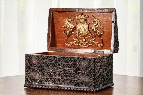 Rare Antique Georgian Stationery Box Earl of Plymouth Armorial Coat of Arms