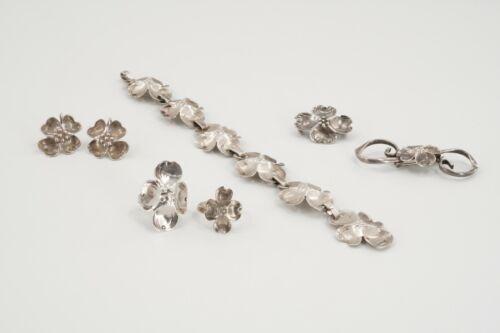 Stuart Nye Sterling Silver Dogwood Flower Bracelet, Earrings, Rings & Brooch Set