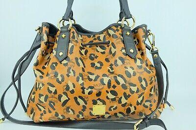 100% Authentic MCM Leopard Visetos Drawstring Large Shoulder and Crossbody Bag