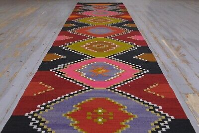 AUTHENTIC Flatweave Kilim Runner Rug, 2.5x13.4 ft, Vintage Home Decor Pink, Red for sale  Shipping to South Africa