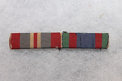 Original WW2 Canadian Army Two Place (Medal) Ribbon Bar, Sewn on Style
