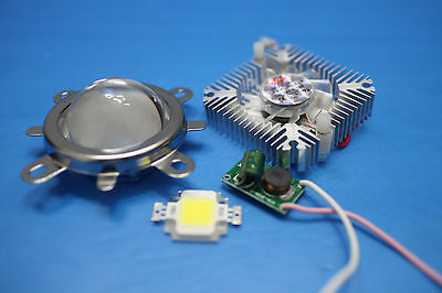44mm Lens Kit 10w Cool White Led 10watt Driver 10w Heatsink Diy