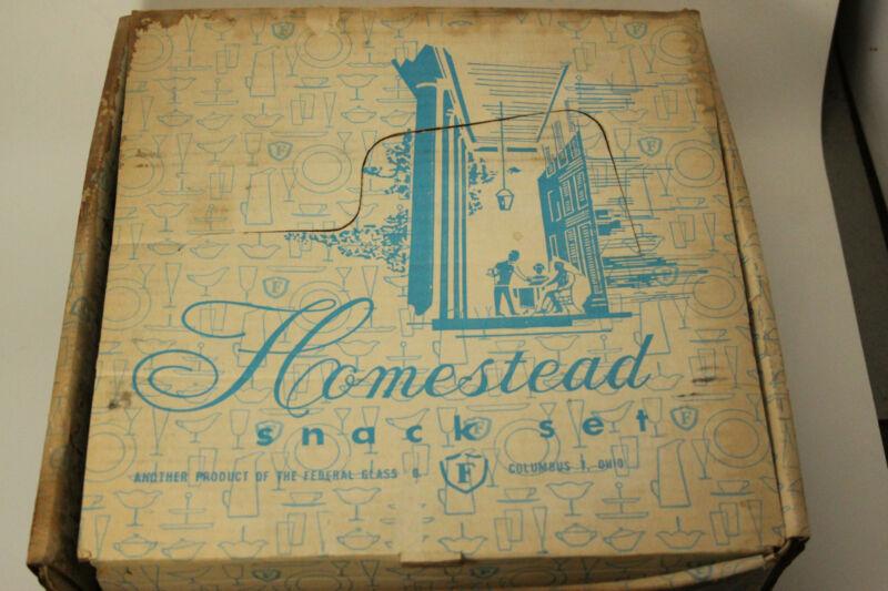 Vintage Federal Glass Homestead Snack Set Wheat specify Blue/Black box  ANT2742