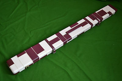 HANDMADE 3/4 THREE COMPARTMENTS WIDE PATCH DESIGN SNOOKER POOL CUE CASE