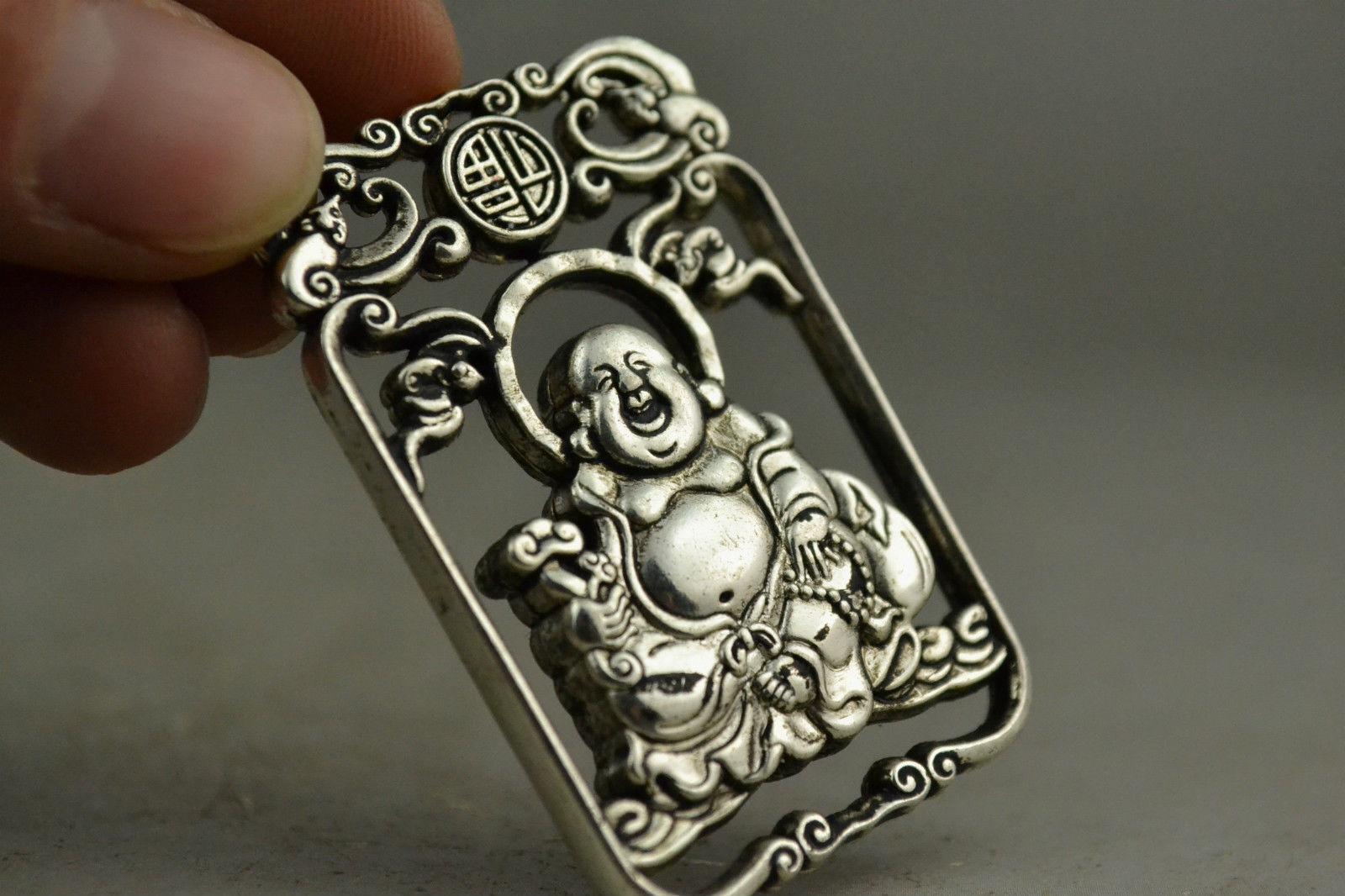 CHINA COLLECTIBLE HANDWORK OLD TIBETAN SILVER CARVING MAITREYA BUDDHA PENDANT