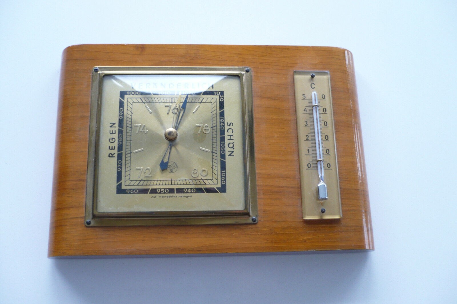 altes Barometer, Wetterstation, Thermometer, Holz, Messing, Glas