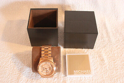 MICHAEL KORS MENS WATCH PINK GOLD NEVER USED FREE UK P&P