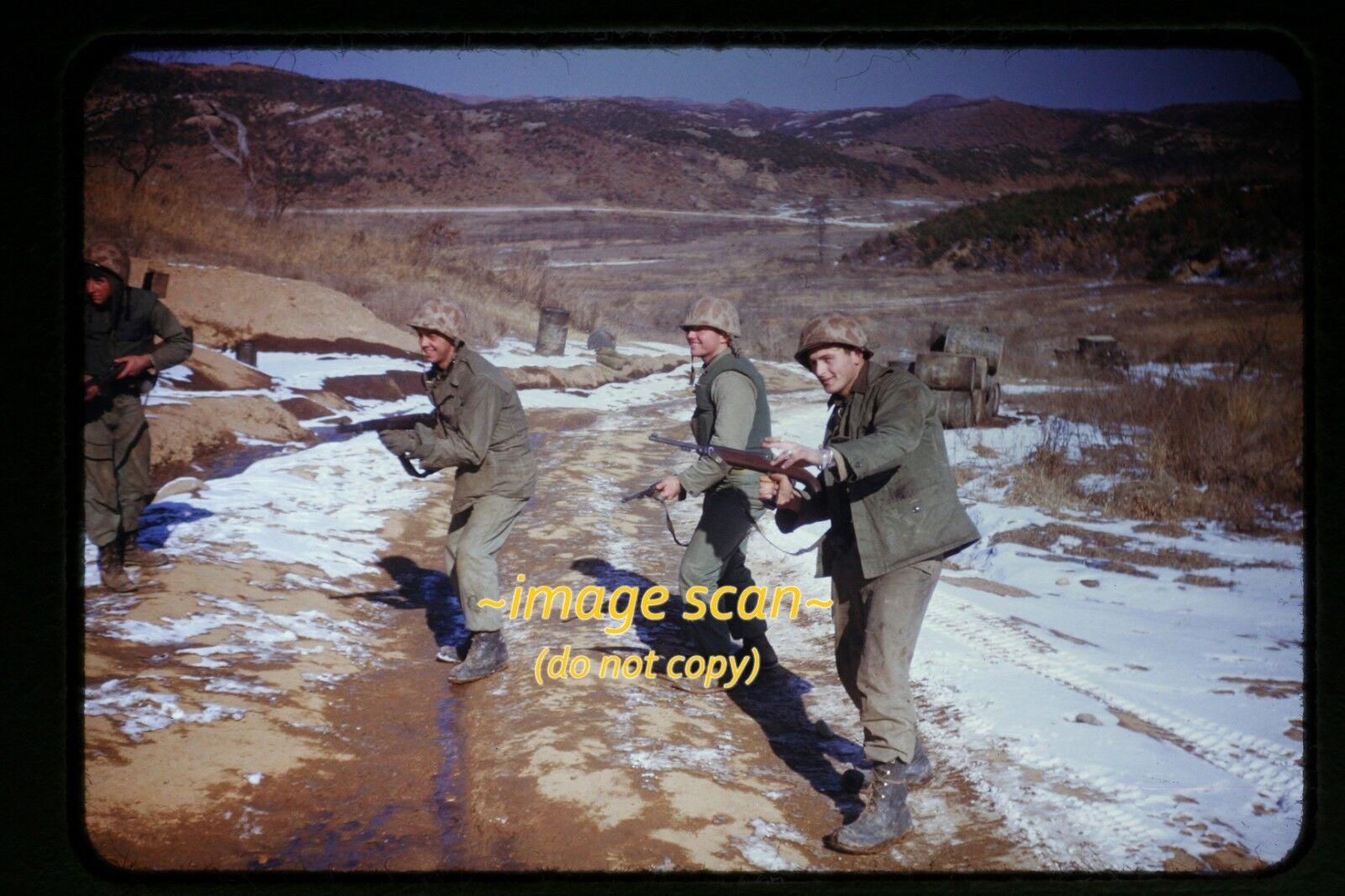 1950 s Korean War, USMC Marines Men With Guns In Korea, Original. Slide C27b - $59.99