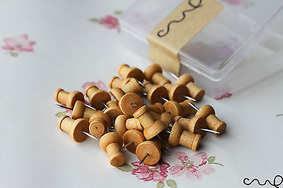 Wooden Push Pin 25 Drawing Pins Rustic Brown Cork Board Map Office Thumb Vintage