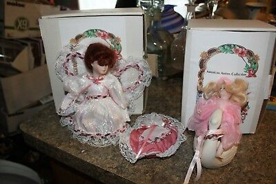 """2 American Artists Collection KAIS Porcelain Doll  - white silver dress 6/7"""" - h"""