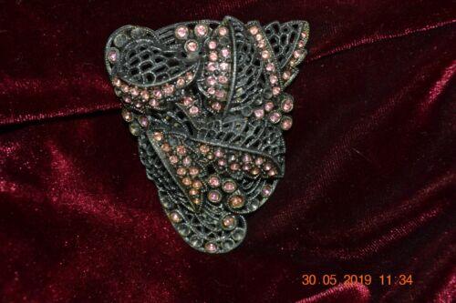 Victorian Pot Metal Large Dress Clip w/pink stones
