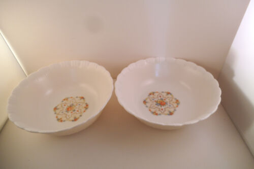 Vintage Macbeth Evans Chinex Classic Flower Glass Pair of Cereal Bowls