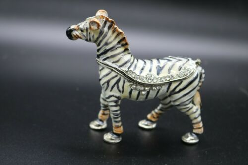 Fancy Rhinestone Zebra Jeweled Enamel Trinket Box  Animal