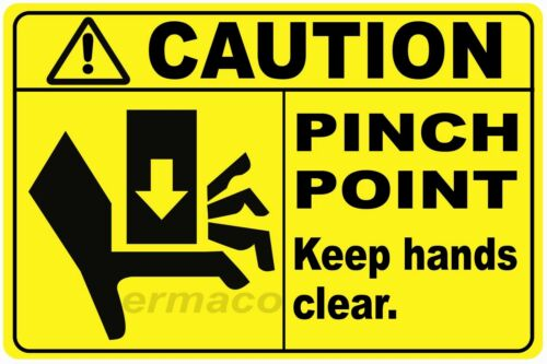 """(Qty 5) CAUTION PINCH POINT SAFETY STICKERS YELLOW POLYESTER 3"""" X 2"""" (Style 3)"""
