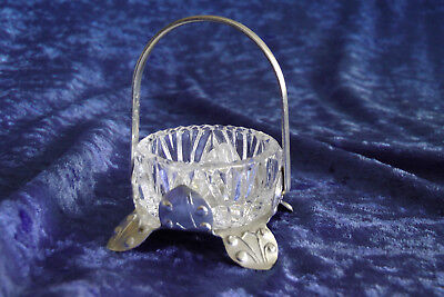Kleines Henkelkörbchen NMB Glas versilbert 70er