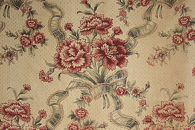 (Vintage French printed linen fabric material upholstery weight floral design )