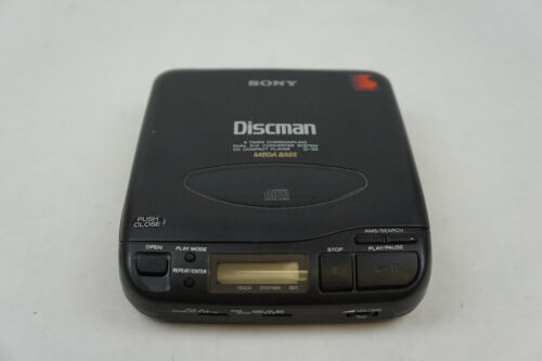 Vintage Sony Discman D-33 Mega Bass Black Portable Disc Player Tested/Working