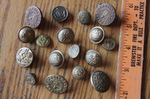 Lot of Brass Buttons Vintage New Haven CT Police & Scovill Waterbury Military ++
