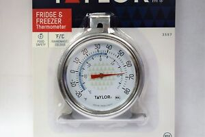 Taylor 3507 TruTemp Refrigerator / Freezer Dial Type Stainless Thermometer
