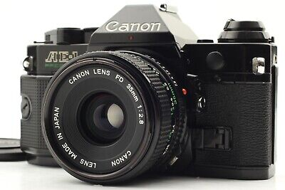 🌟Exc+4🌟Canon AE-1P 35mm Black SLR Film Camera + NFD 35mm F/2.8 Lens from Japan