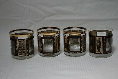 ROARING TWENTIES Vintage Hollywood Film Highball Glasses Set Of 4