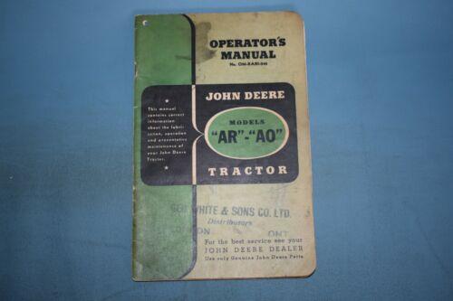 John Deere AR AO Tractor Operators Operator