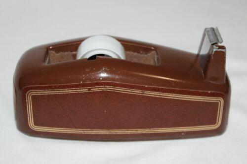 Vintage Heavy Duty Brown Metal Desktop Tape Dispenser Faux Leather Trim