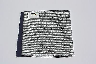 Men's Black and White Striped Seersucker Pocket Square with White Trim
