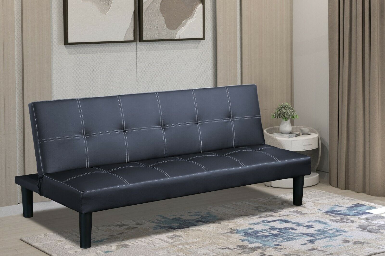 Sofa Sleeper Easy to Use Mechanism 2 In 1 Sofa.3 Seater Faux Leather Sofa Bed