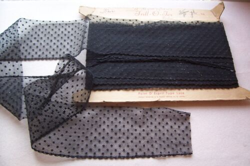 Vtg Antique Victorian Wide Black lace with raised Polka Dots 1 yard