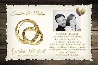 CHZEIT 50. Jahre - INDIVIDUELL FOTO  Namen & Datum A4 (Goldene Hochzeit)