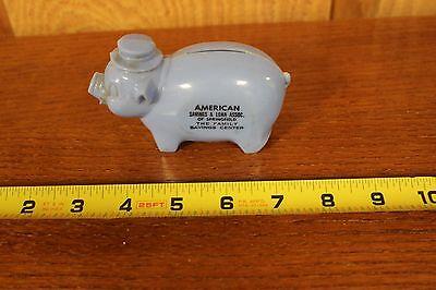 "Blue Plastic Piggy Bank ""American Savings & Loan"" Springfield Il."