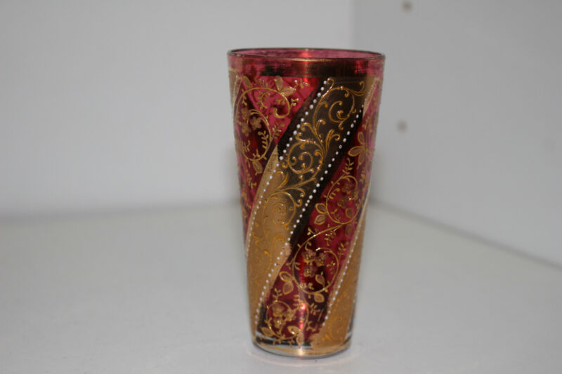 "ANTIQUE HAND PAINTED VICTORIAN 4"" CRANBERRY GLASS VODKA TUMBLER-GOLD-MOSER B"