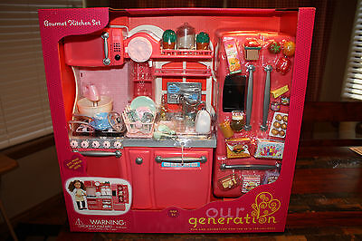 NEW Our Generation PINK Gourmet Kitchen Set for 18-Inch Dolls RARE!