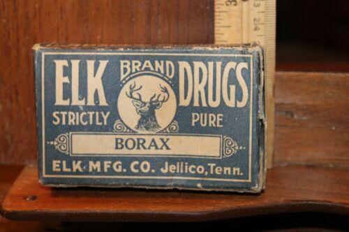 Antique ELK Drugs Borax Jellico Tenn Manufacturing Cardboard Box