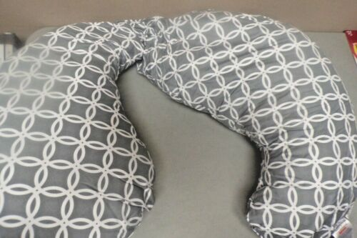 USED Boppy Slipcovered Total Body Pregnancy Pillow, Gray/White, Hair