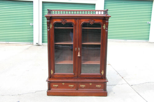 Fine Walnut Victorian Two Door Bookcase Display Cabinet w Spindle Gallery Ca1880