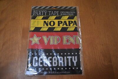 NIP Hollywood Party Tape 3pc Award Movie Birthday Party Supplies - Hollywood Supplies