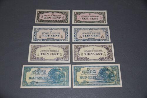 8 Netherlands Indies Japanese Invasion Money (JIM) WWII UNC 1-5-10-1/2