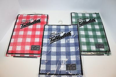 """(3) Vinyl Tablecloth Flannel Back Reusable Picnic Parks Green Red Blue 52""""x70"""""""