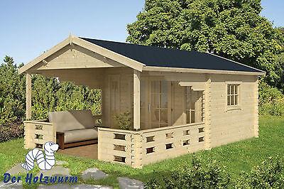 45 mm Gartenhaus Aktion Blockhaus 380x590cm Holzhaus Terrasse Gerätehaus Datsche