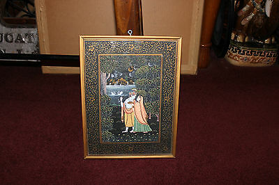 Detailed Hindu Religious Spirituality Color Painting-Woman & Man-Trees Water