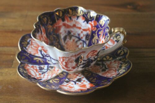 Wileman Foley Daisy Cobalt Gold Imari Teacup Tea cup Saucer pre Shelley