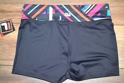 Fila Sport Black Shorts with Multi-Colored Band Workout Wear Performance Gear