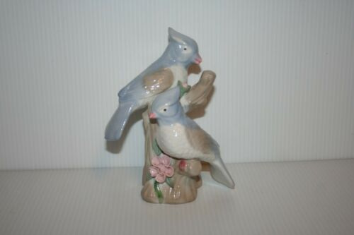 Blue Jay Figurine Blue White Glaze Porcelain/Ceramic Applied Pink Flower Leaves