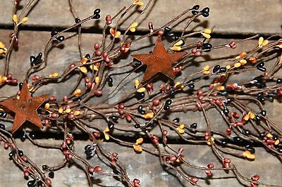 """40"""" Pip Berry Garland with Rusty Stars - PRIMITIVE MIX for sale  Pataskala"""