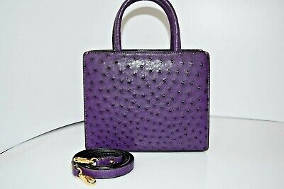 S'uvimol Box Ostrich Satchel Purple Small Handbag 0289